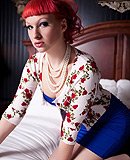Little red rose top Good tgirl Bailey Jay stripping and posing in the bed.