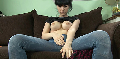 Cabin fever Busty Bailey jerking her large cock. Bailey Jay.