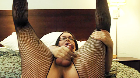 Skype ejaculate show. Libidinous Wendy masturbating in stockings