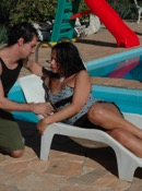 Bruna and paulo make love and blow by the pool.