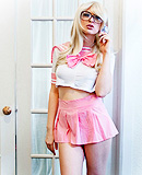 Pink Naughty bookwhore Bailey Jay stripping.
